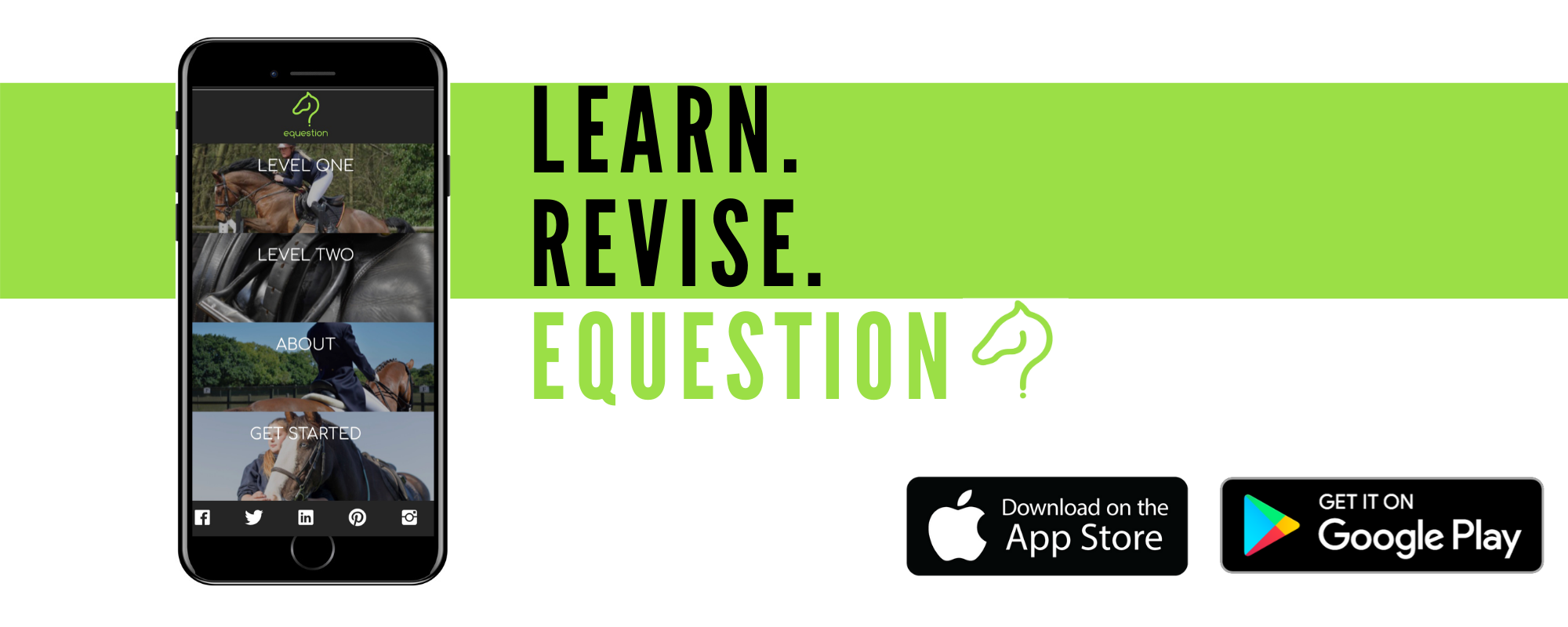 Equestion: the equestrian learning app, ideal for equine students, online horse courses and horse owners and riders.