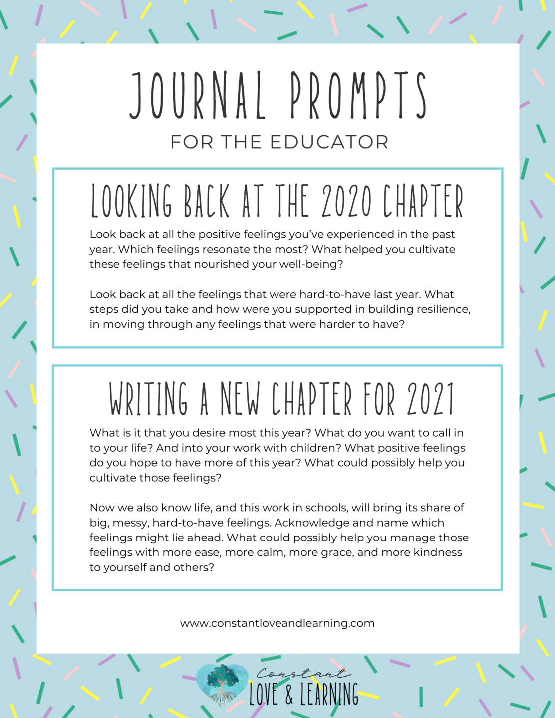 New Year Journal Prompts for teachers