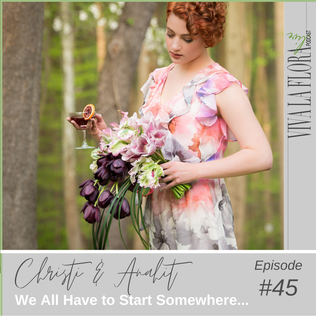 girl wearing a floral dress standing in a a woods and holding a bouquet of tulips for the cover of Viva La Flora Live Podcast