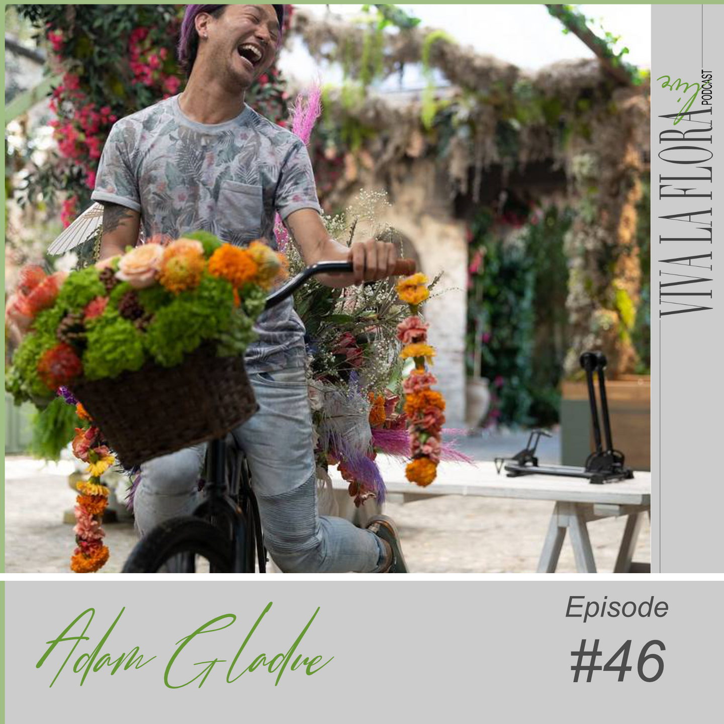 guy riding a bicycle decorated with flowers on HBO Max Full Bloom tv show on the cover of Viva La Flora Live Podcast