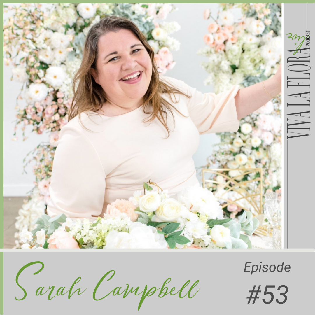 Woman standing in a sea of white and blush flowers and smiling Sarah Campbell from Intrigue Designs EMC Go Live event speaker and Viva La Flora Live Podcast Guest