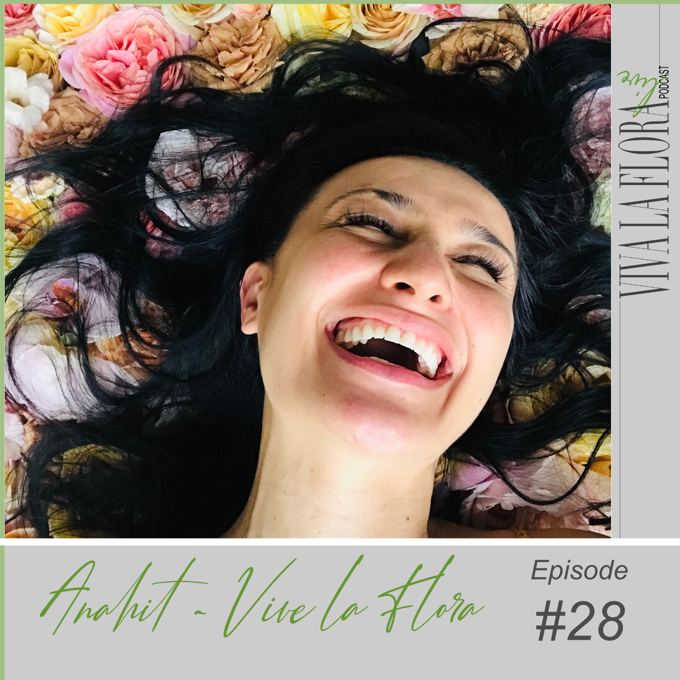 girl smiling laying on garden flowers for cover of Viva La Flora Live Podcast with Anahit