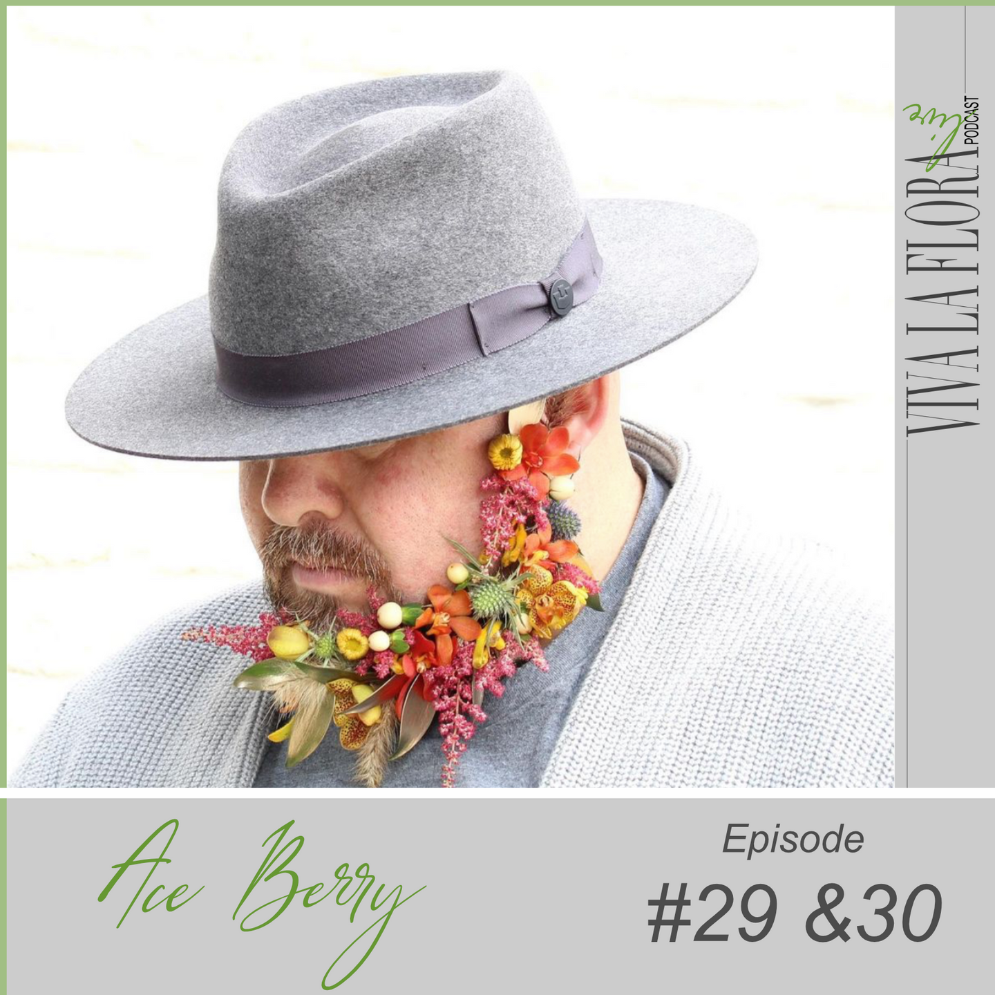 guy with flowers in his beard and fedora hat