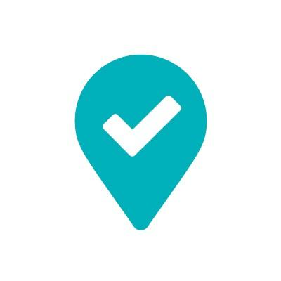 location pin with checkmark