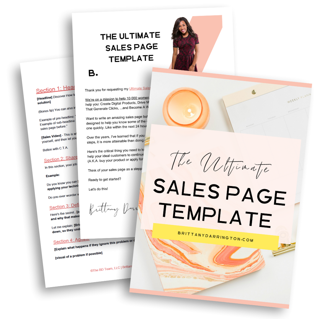 The Ultimate Sales Page Template Brittany Darrington