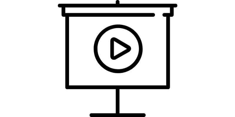 drawing of screen showing play button