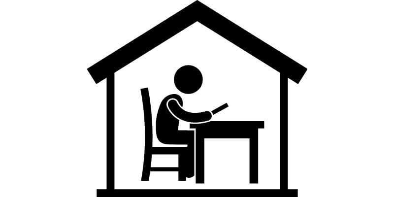 drawing of person at desk in house