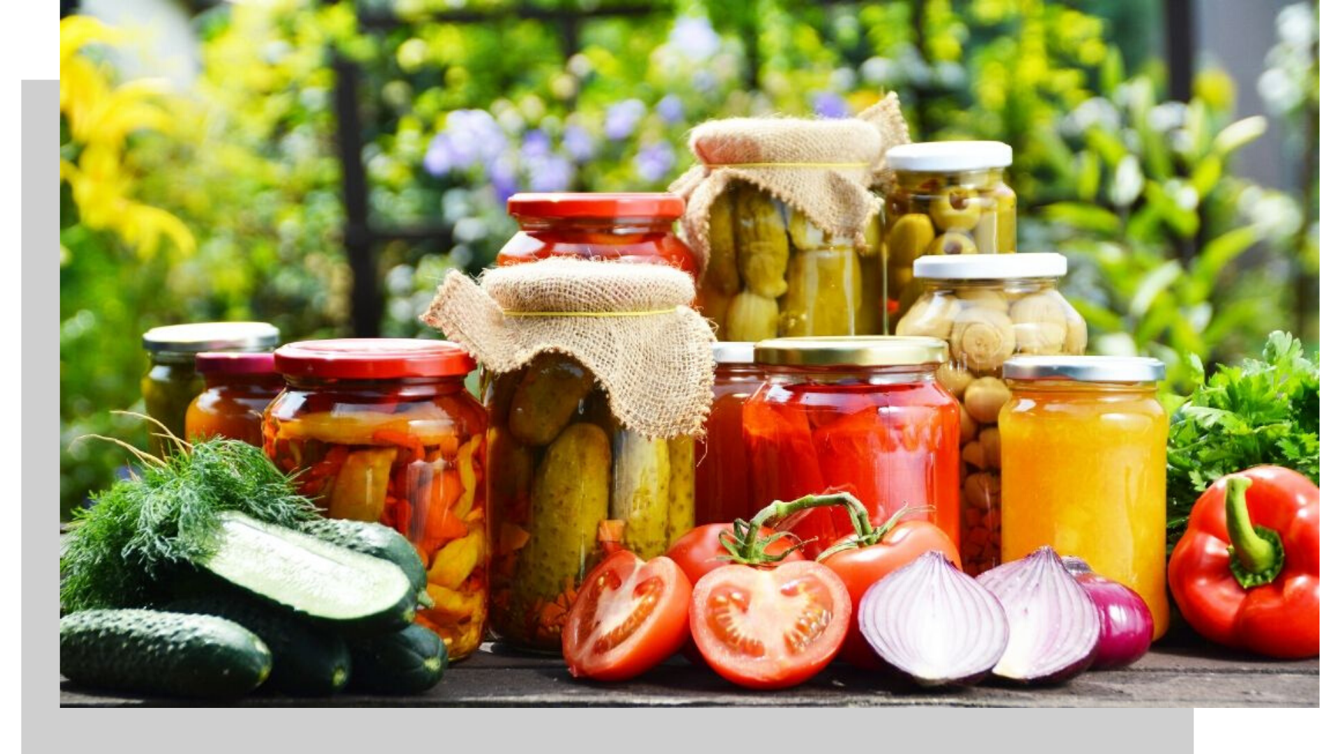 canning jars with fresh produce