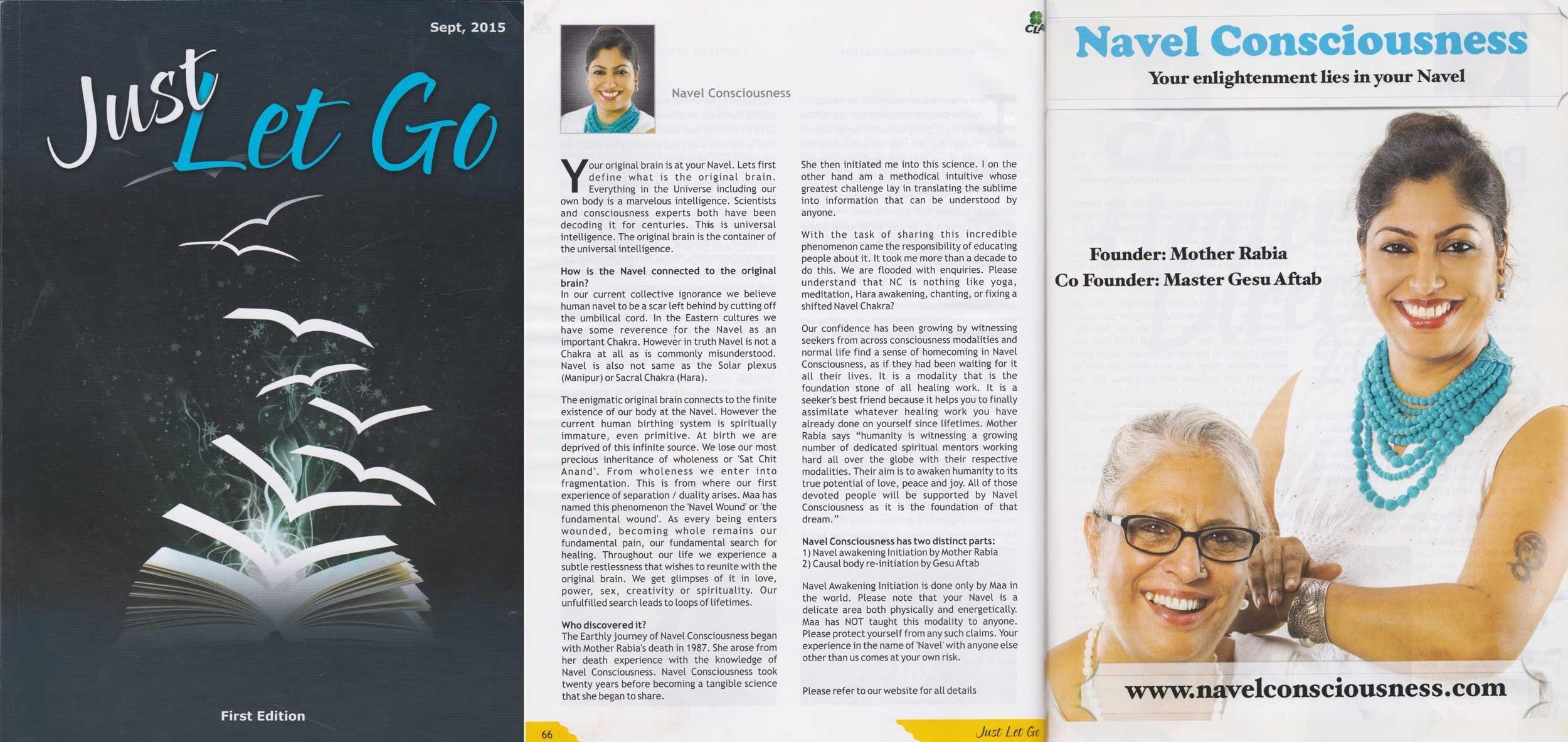 Navel Consciousness founder Udumbara Gesu and Navel Awakening Initiation founder Mother Rabiya in Let it go magazine in 2015