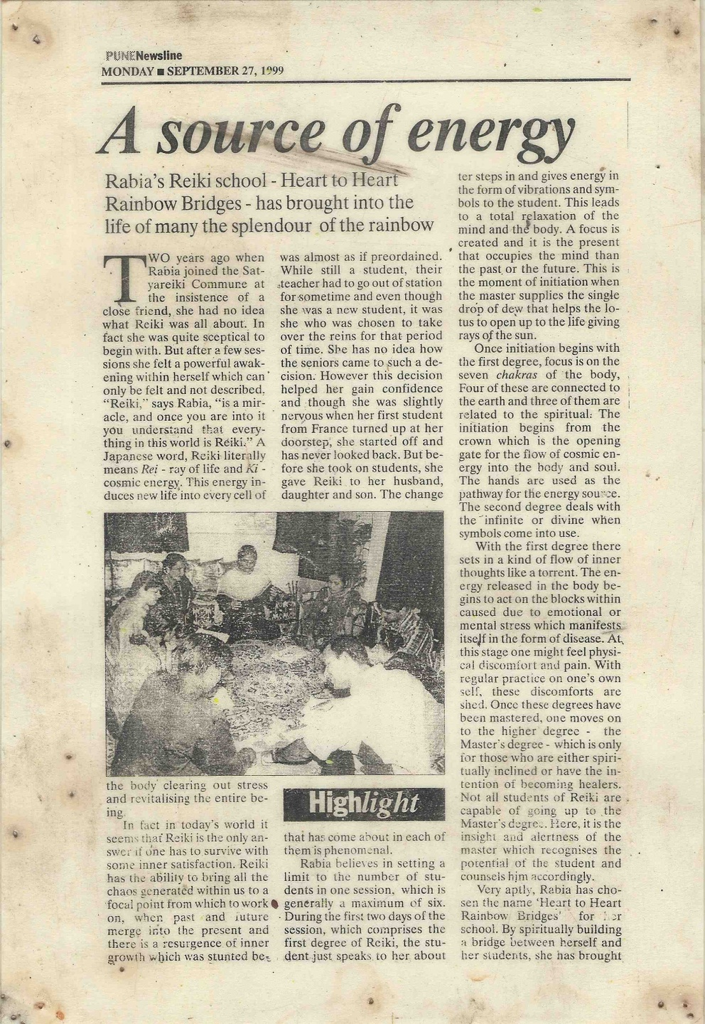 Mother Rabiya enlightened Mystic and Dynamic Reiki founder article in Pune news line in 1999