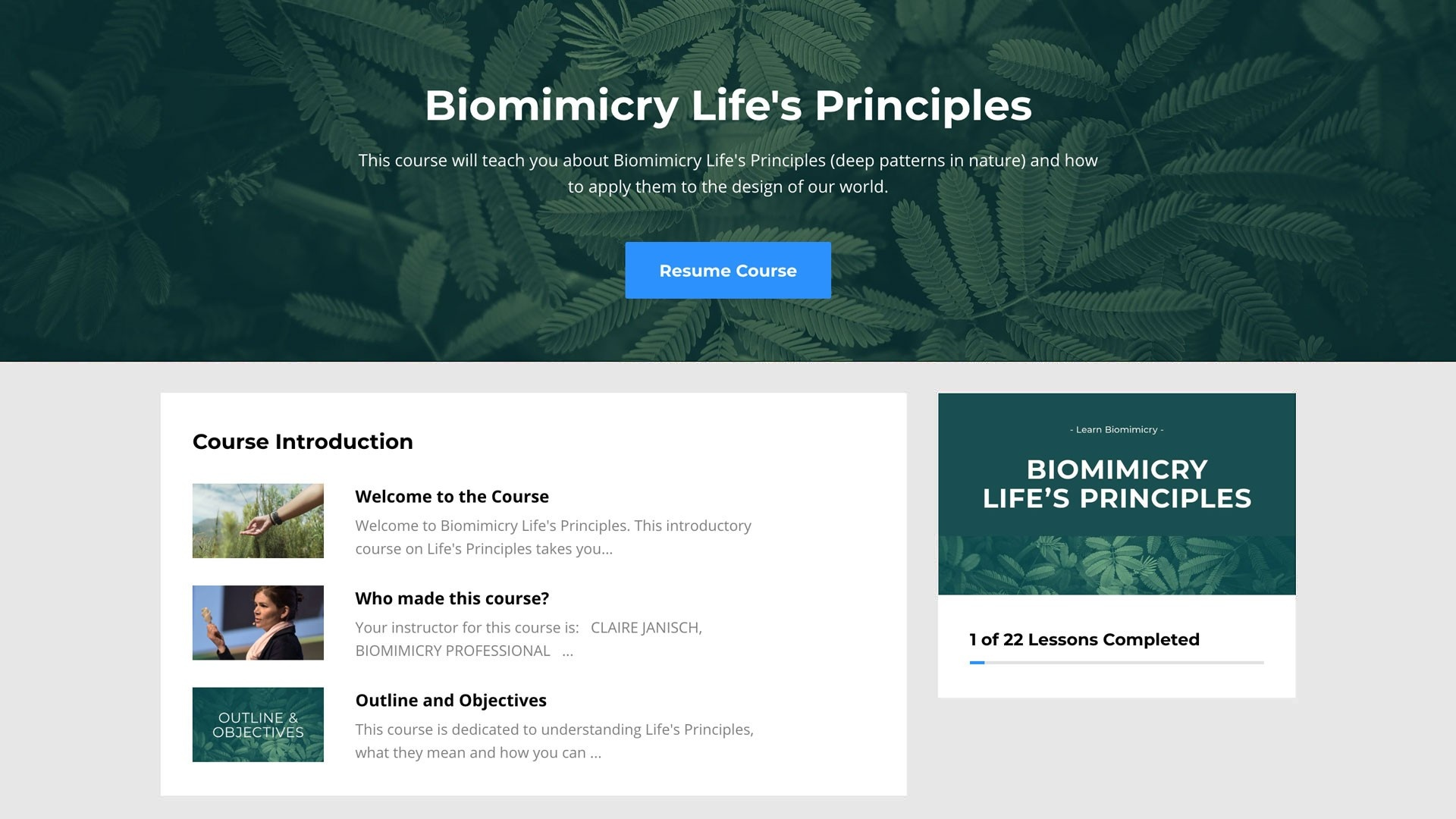 screenshot of biomimicry lifes principles course
