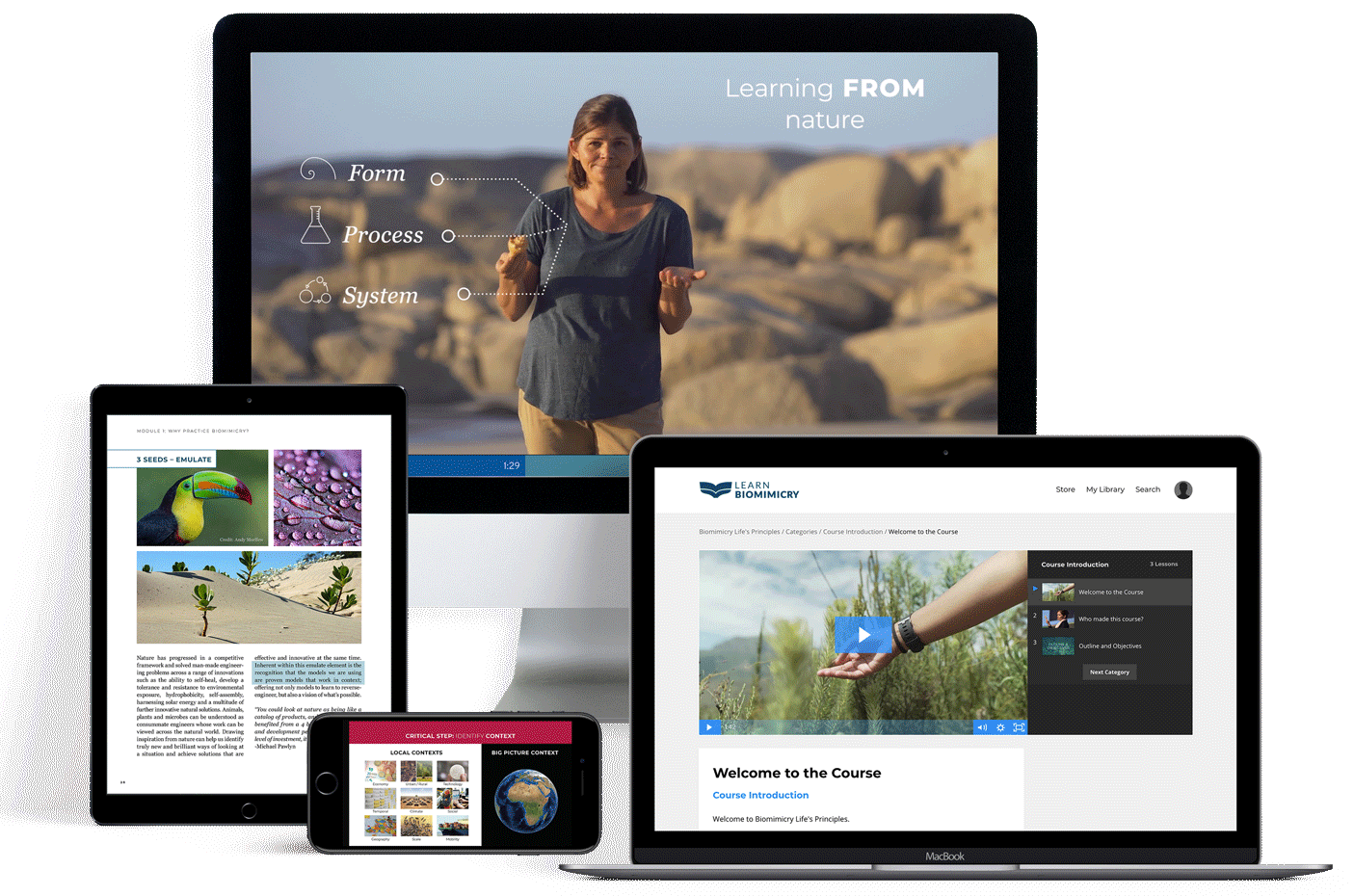 Biomimicry courses offered on desktop mobile and tablet
