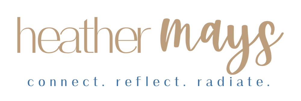 logo that says heather mays connect reflect radiate
