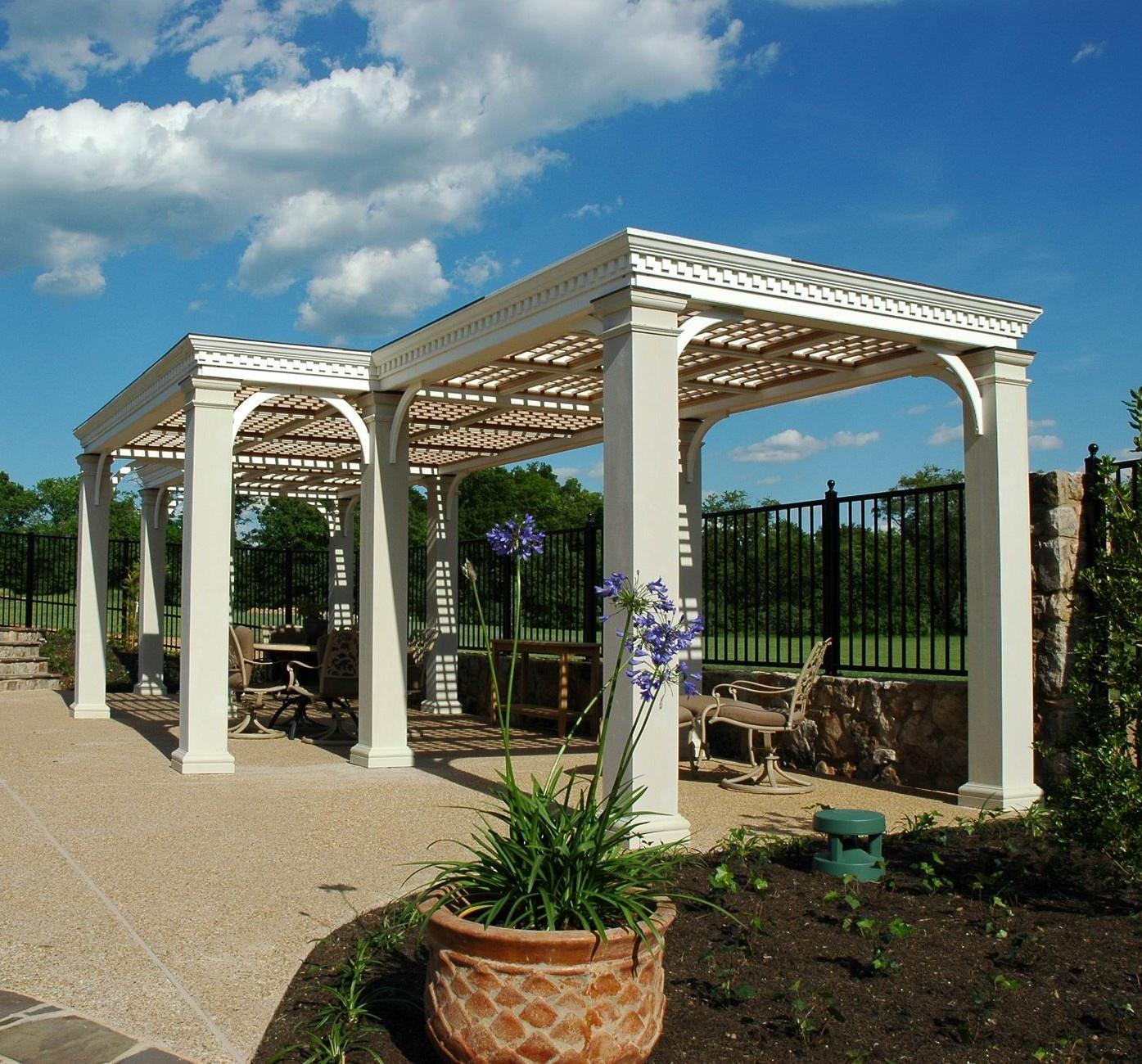 Pool pergola with square fiberglass columns and trellis for shade