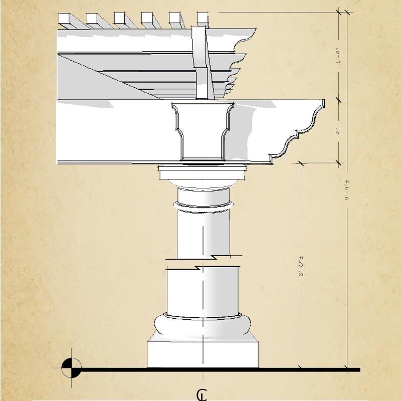 Pergola sketch with dimensions