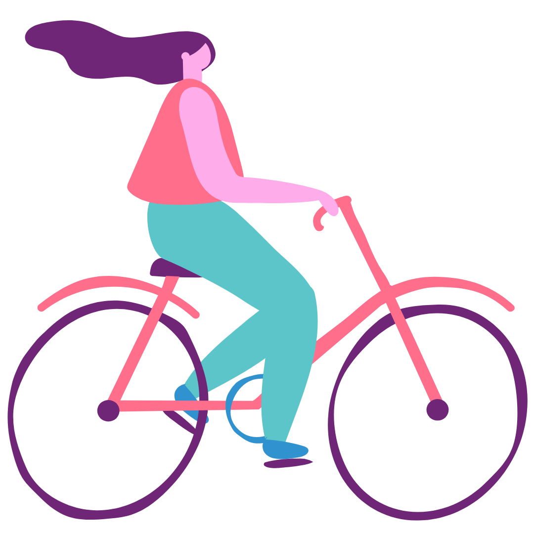 The Radical Connector_illustration of woman riding bike