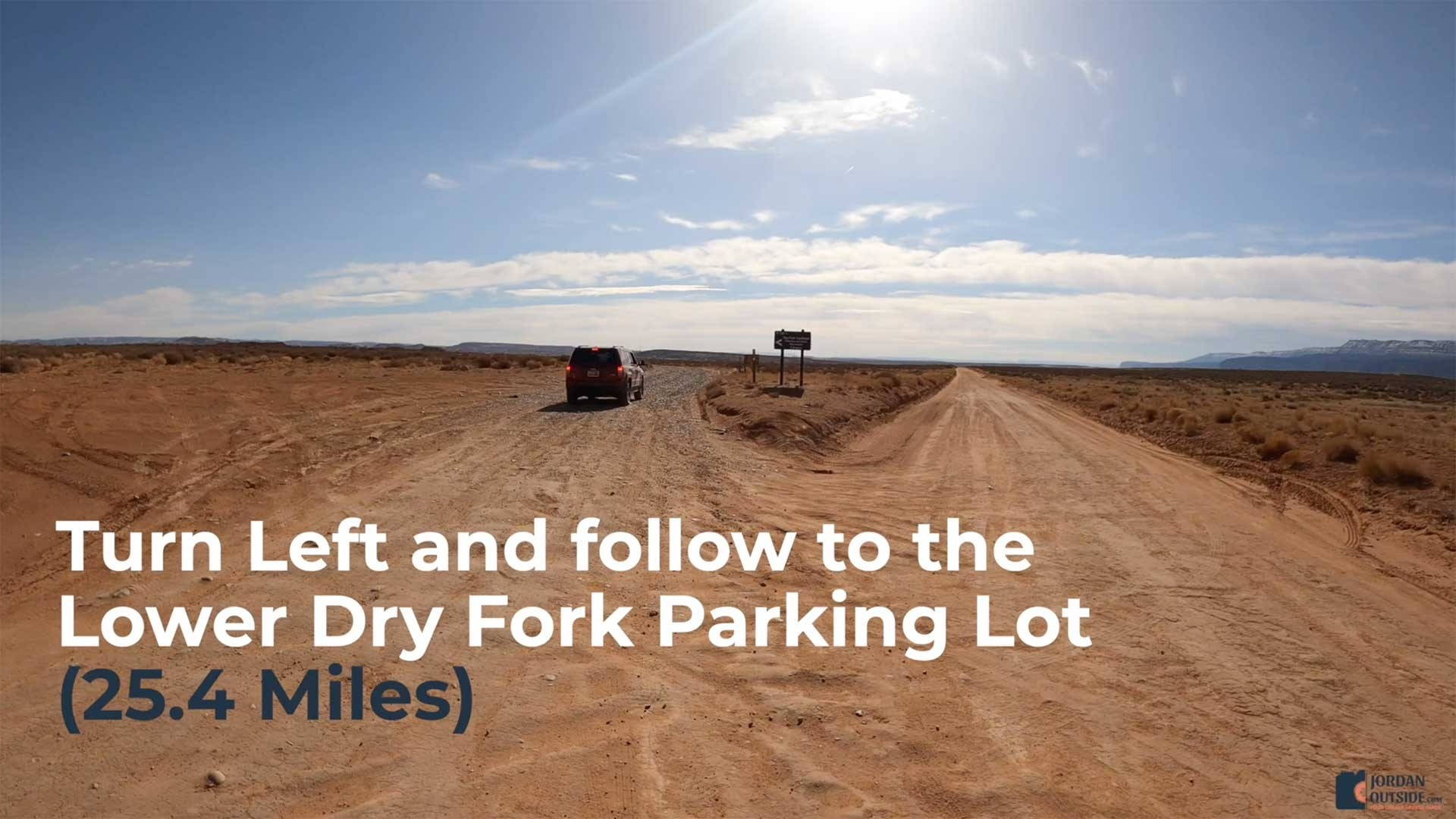 Turn Left and follow to the Lower Dry Fork Parking Lot