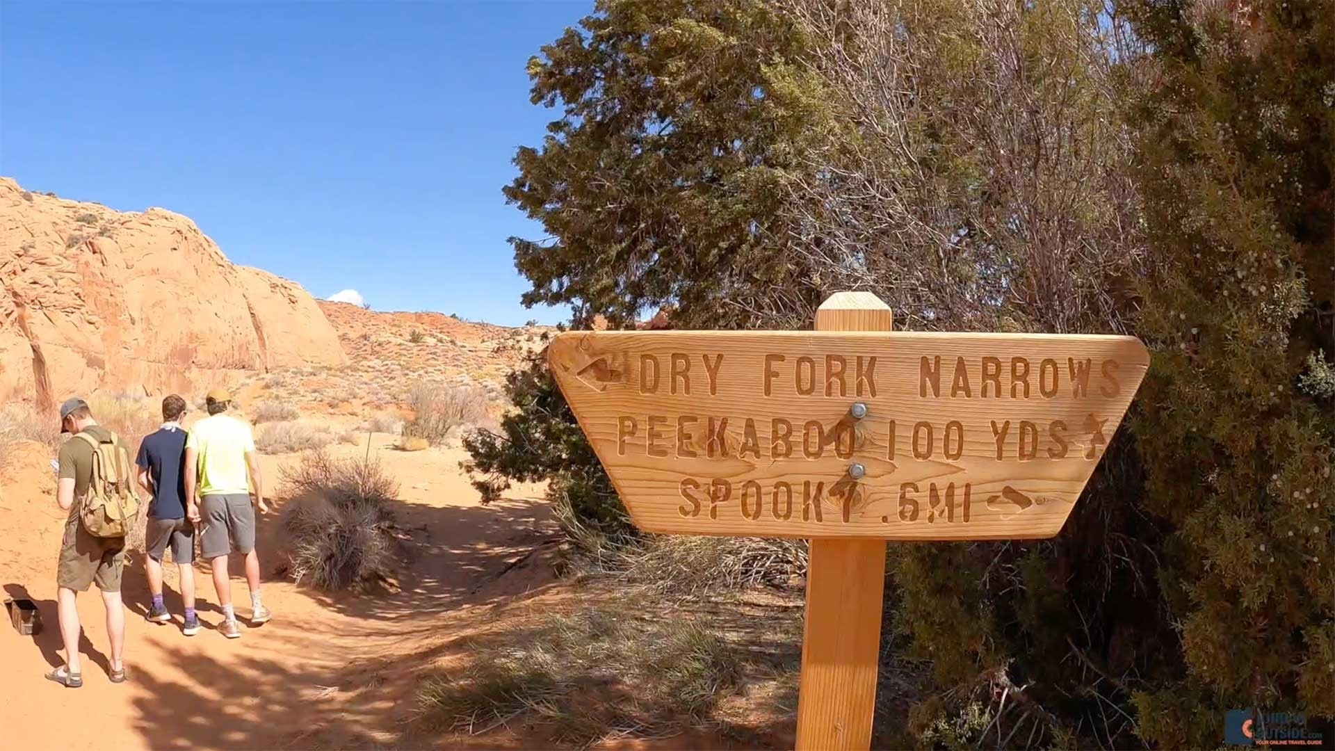 The Lower Dry Fork, Spooky, and Peek-A-Boo Trailhead Sign