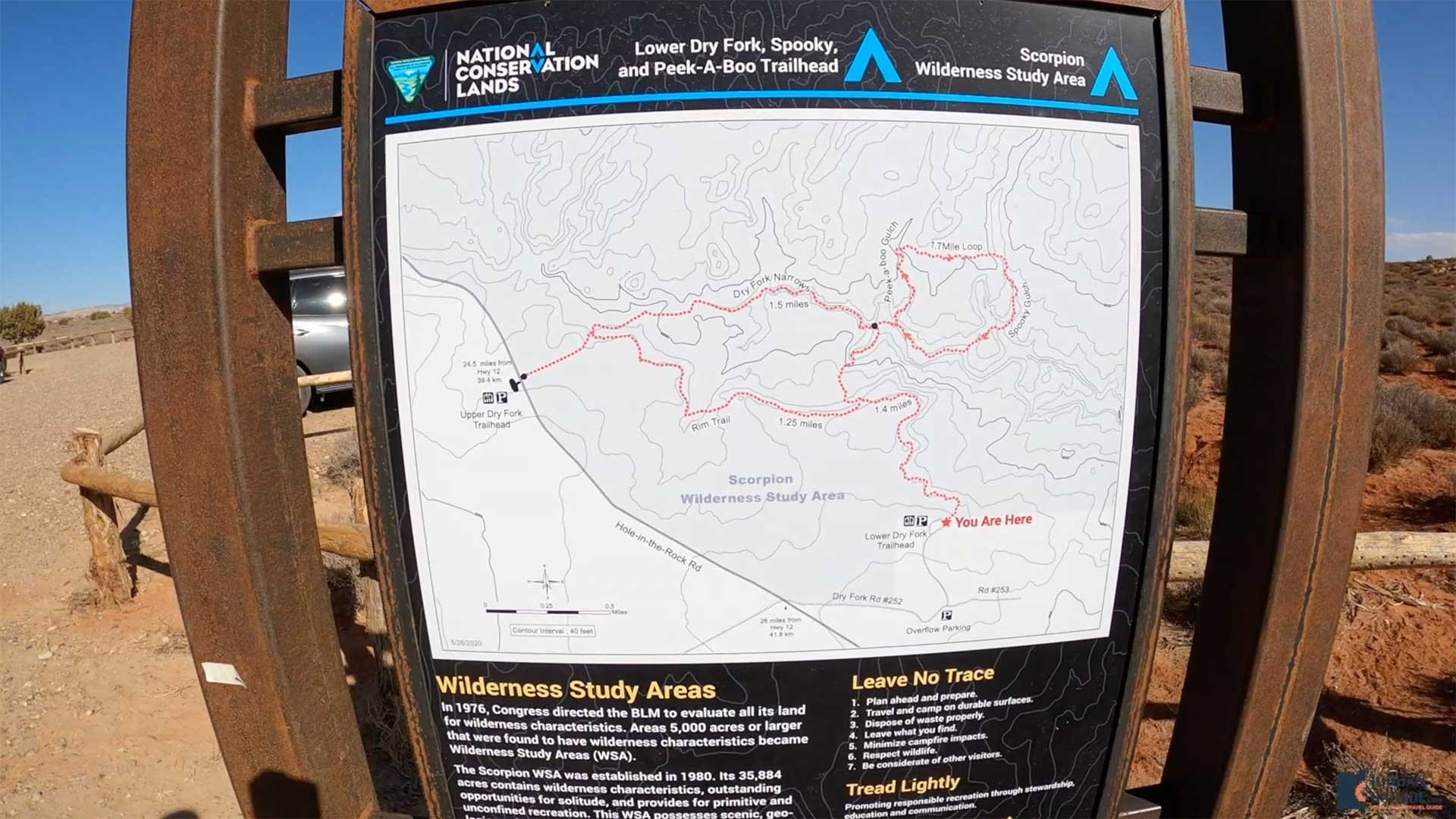 The Lower Dry Fork, Spooky, and Peek-A-Boo Trailhead Map