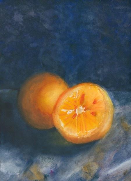 Feature Artist Elizabeth Reich Watercolor painting orange still life