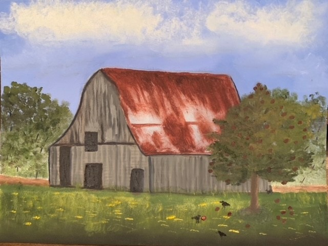 Feature Artist Kimberly Evans oil painting of a barn