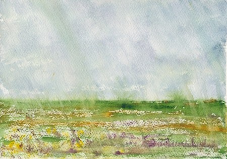 Elizabeth Reich, featured artist, created a landscape watercolor painting
