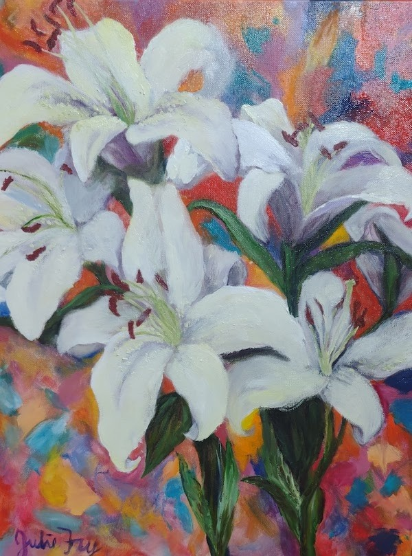 Julie Fry, featured artist, created a lily oil painting