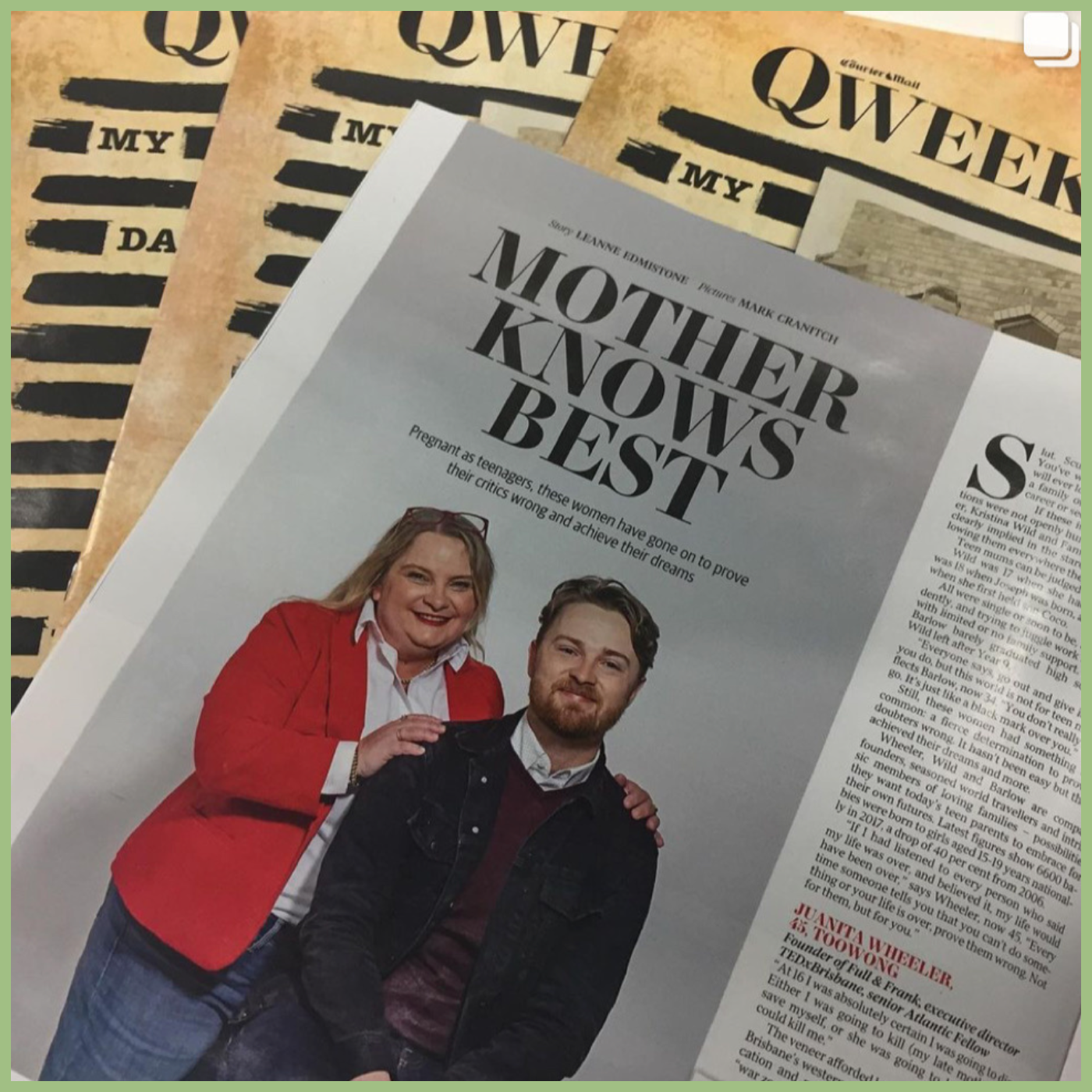mother and son on a cover of a newsletter