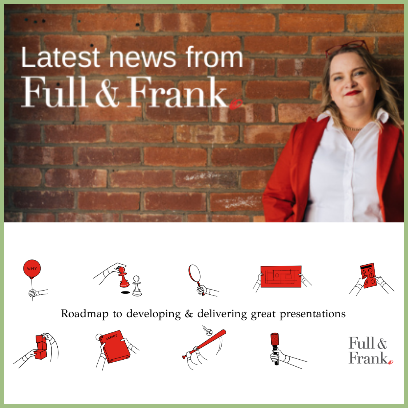 power woman wearing a white shirt and red blazer standing against brick wall - Juanita Wheeler from Full and Frank for the cover of Viva La Flora Live Podcast