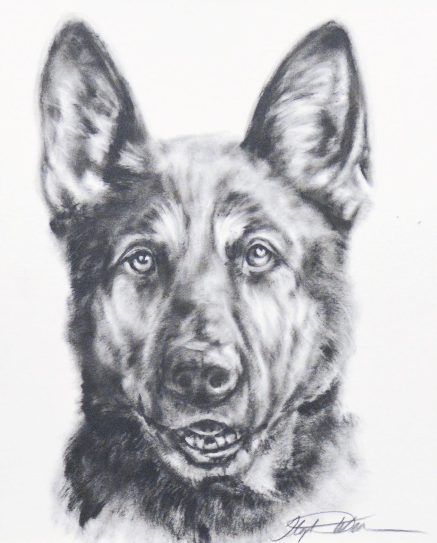 Custom army dog dry brush painting
