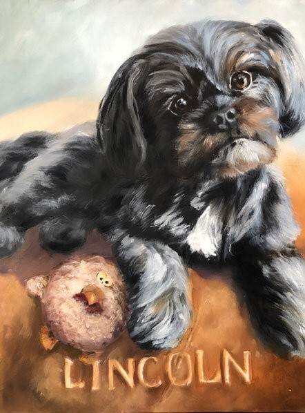 Traditional Oil Painting of A Custom Pet Portrait