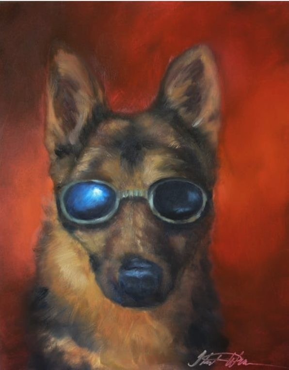 Dog with sunglasses painting