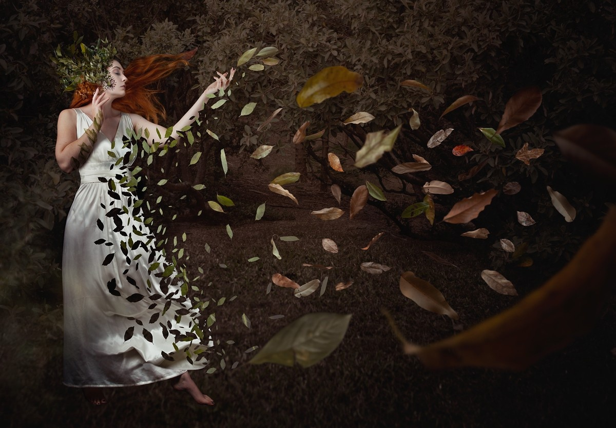 A composite photograph of a girl breaking apart into leaves made in Photoshop