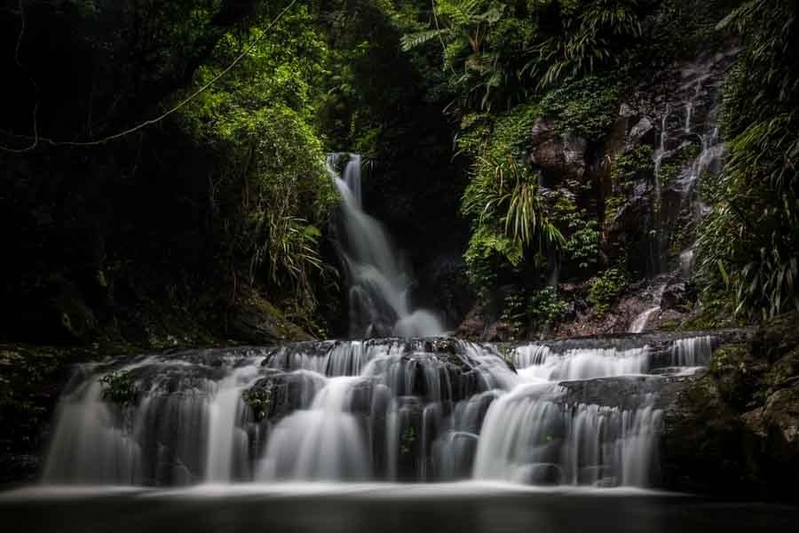 A long exposure waterfall photographed in Lamington National Park