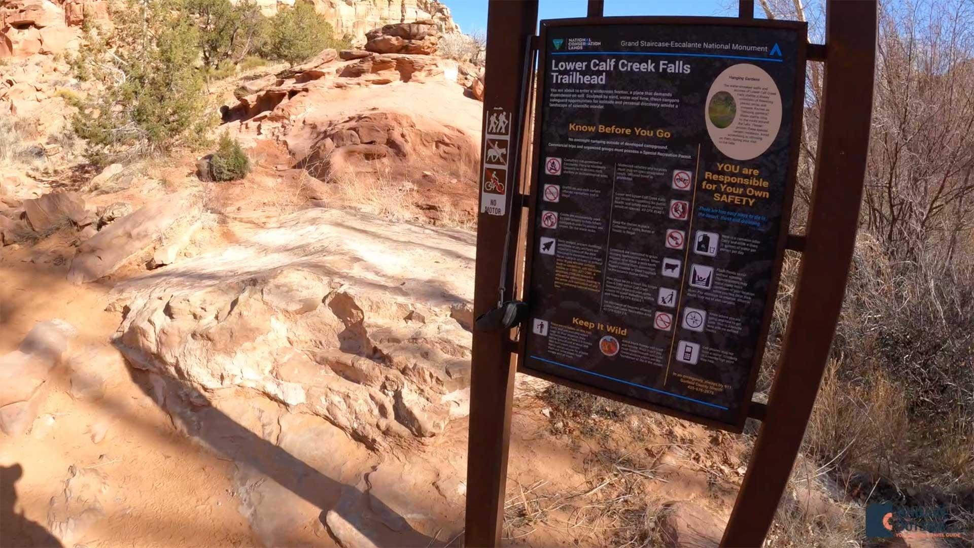 The Lower Calf Creek Falls Trailhead Sign