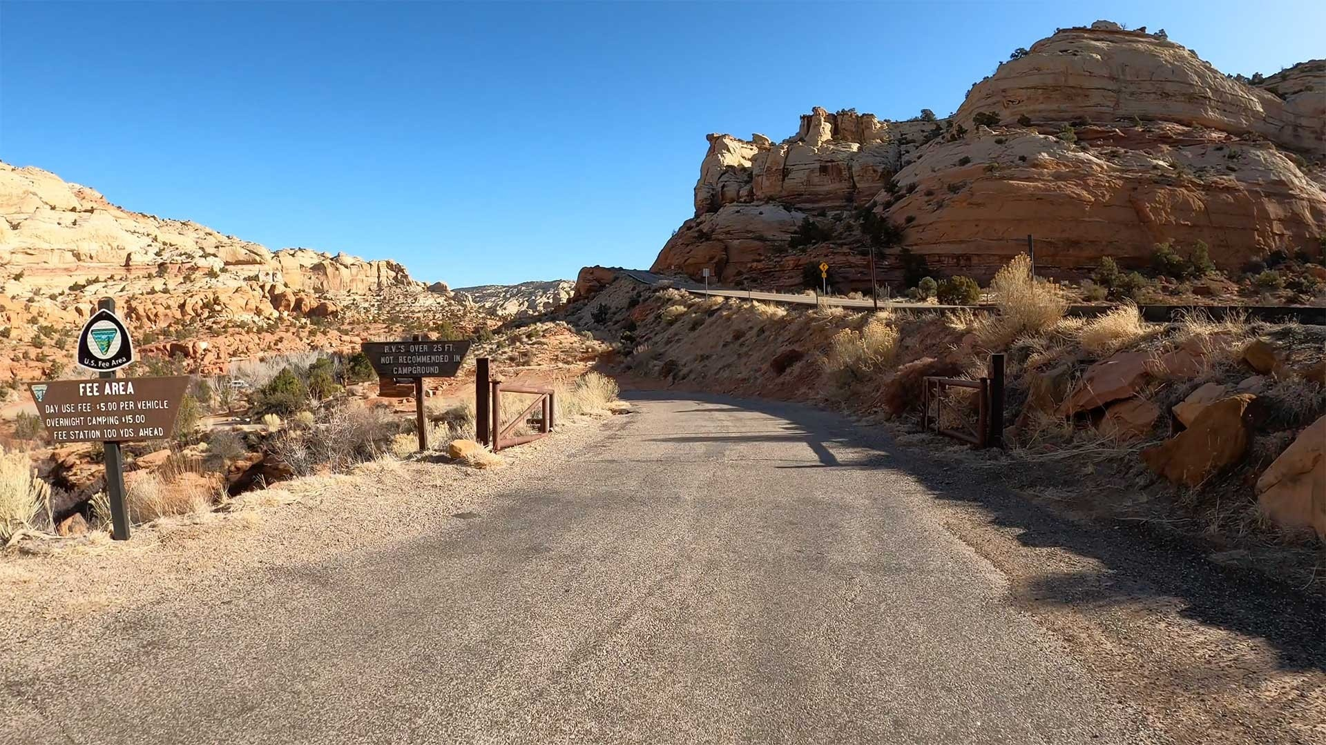 The entrance to the Lower Calf Creek Falls Parking Lot