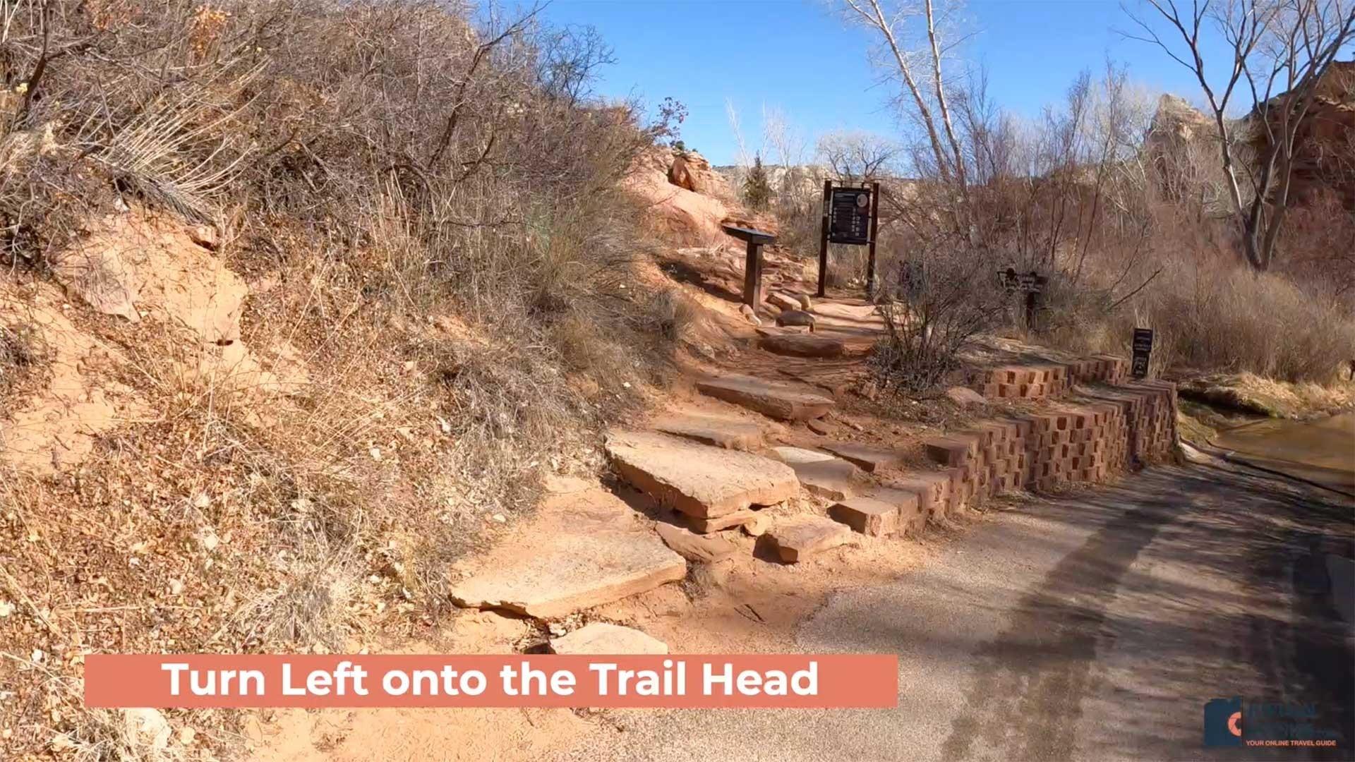 Turn Left onto the Lower Calf Creek Falls Trailhead