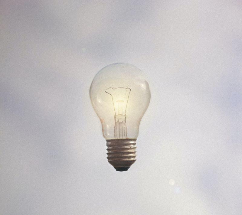 lightbulb floating in sky