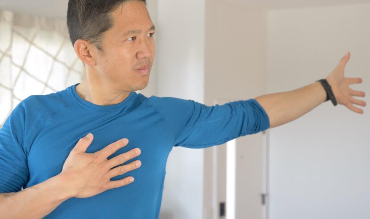 matt stretching arm pain free