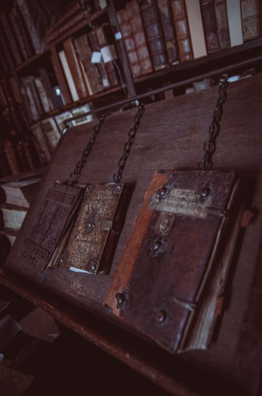old books with chained
