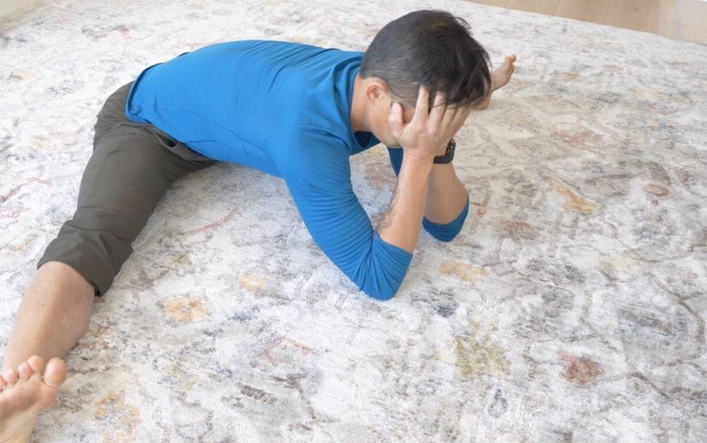 matt on floor with head in hands