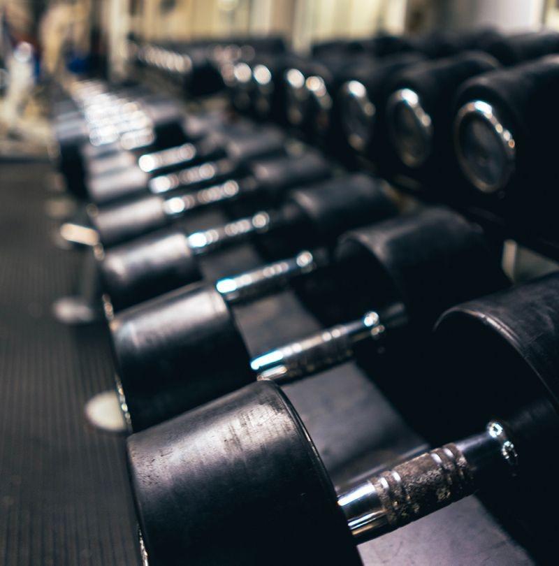 dumbells in gym