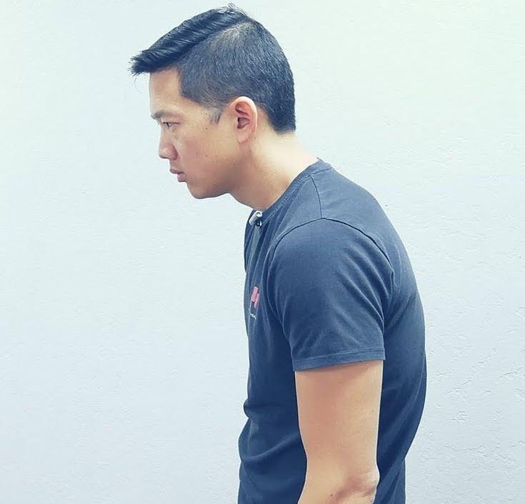 matt in hunchback posture