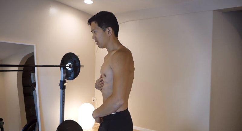 matt demonstrating abdominal muscle control