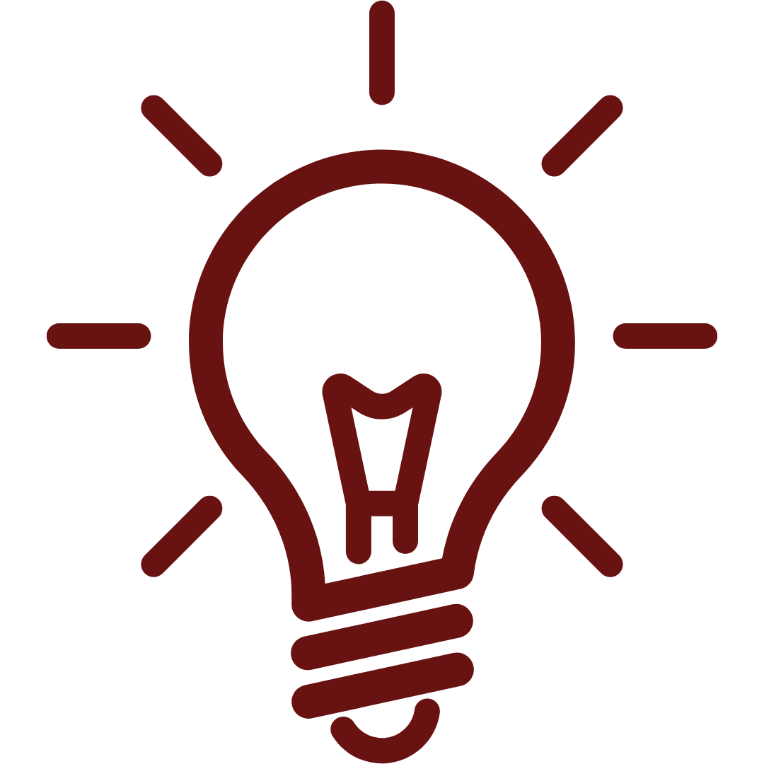 Red icon of a light bulb