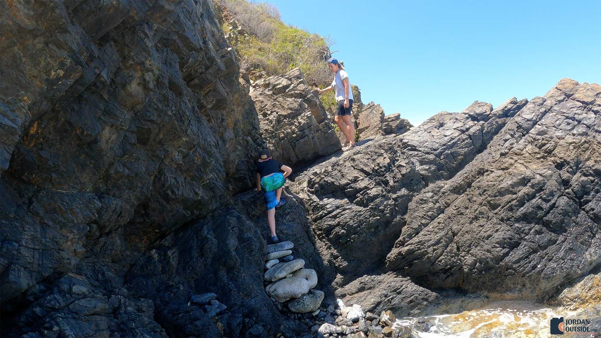 Climbing Rocks at Annaly Bay Tide Pools