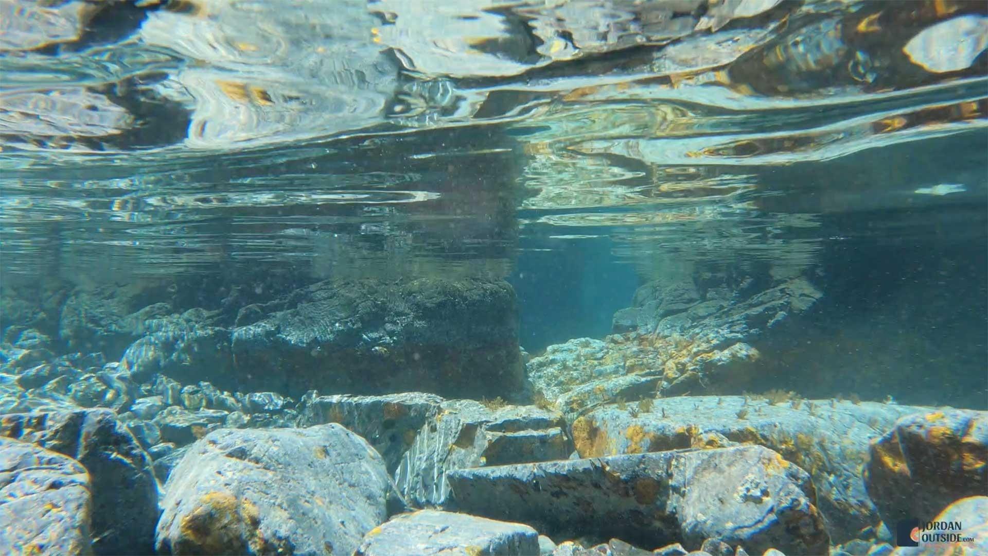 Underwater view of tide pools