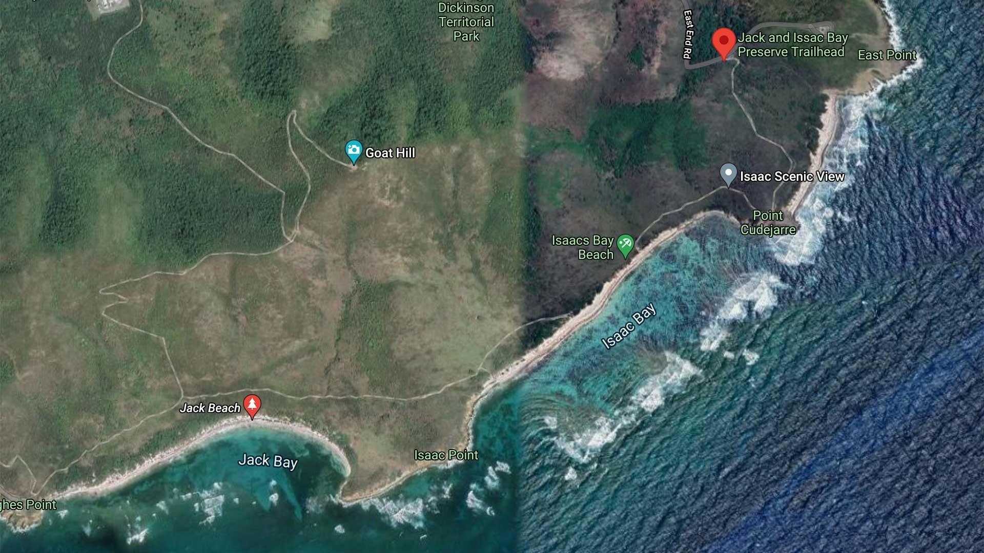Jack's Bay Beach Map