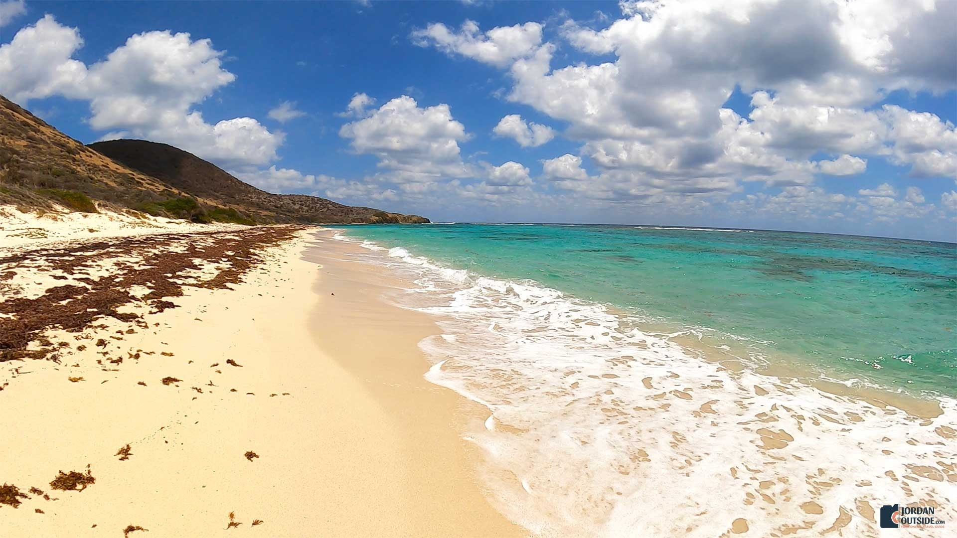 The sand and view of Isaac's Bay Beach, St. Croix