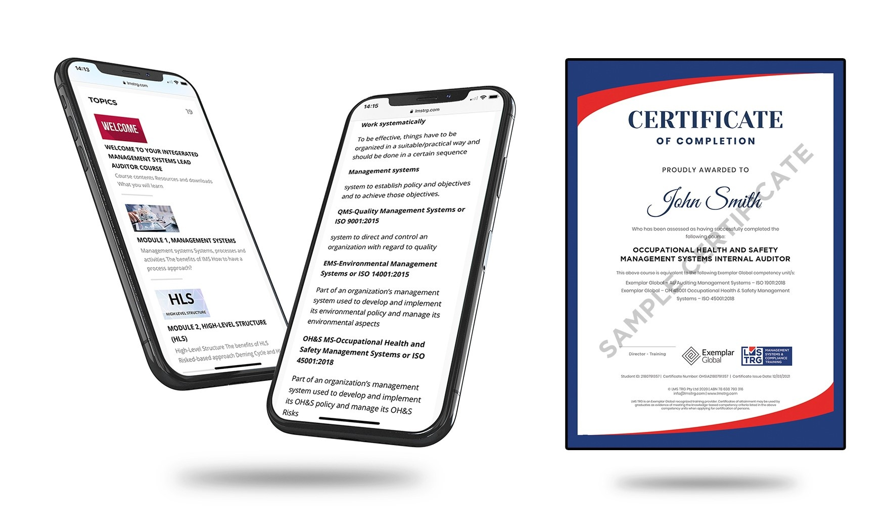 ISO 45001 Occupational Health and Safety Management Systems (OH&S) Internal Auditor ISO Certificate
